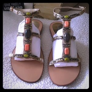 BCBGeneration Gold Gemstone Gladiator Sandals
